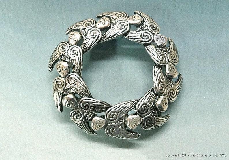 Angel Wreath, Irish jewelry, Irish brooch, Irish Angel Wreath, hand cast,  Guardian Angel, Irish sterling, Irish Angel Wreath Brooch, BESPOKE