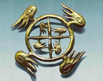 Guardian Angel brooch, Ezekiel's Wheel, Celtic jewelry, spiritual, Inspiration, Wicken, wings, goth, Angel wings, Celtic pin, Mother's Day