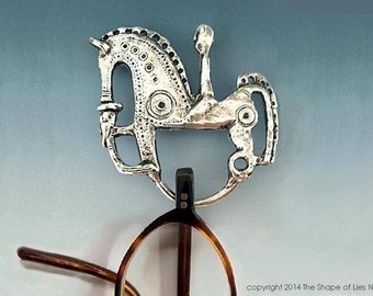 Irish BRASS STERLING horse brooch, Irish museum jewelry, Celtic jewelry, Celtic Brooch, Horse, reading glasses, eyeglass holder, horse lover