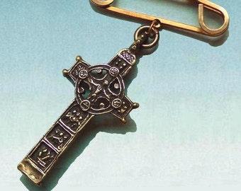 Cross pin man gift Irish Celtic, Catholic religious, jean jacket pin, St Patrick, museum jewelry, Clonmacnoise, Irish Christmas, gift box