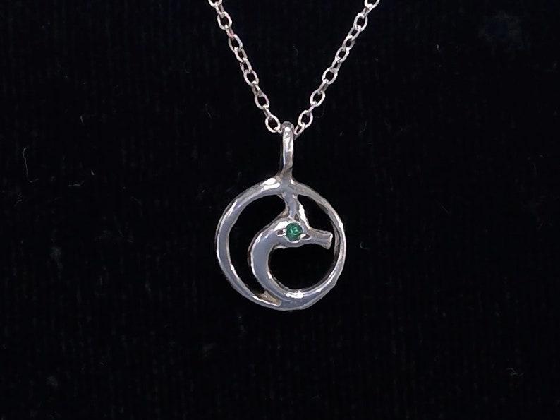 STERLING Dragon jewelry Emerald Irish Dragon charm Dragon image 0