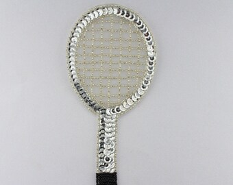 "Tennis Racquet Sequin Applique 7.5""x 3"""