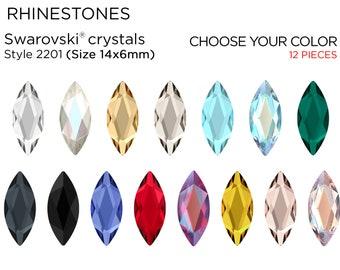 NOS Navettes Stones Gold Foil Backing 15MM x 7MM Marquise Aquamarine Rhinestones Vintage 10 Pieces