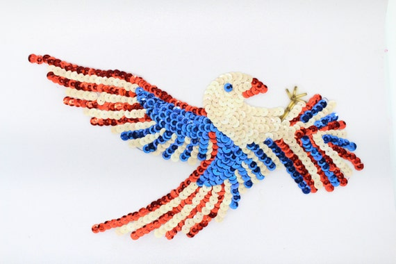 Large Red White And Blue Eagle Sequin Applique 1025 Etsy