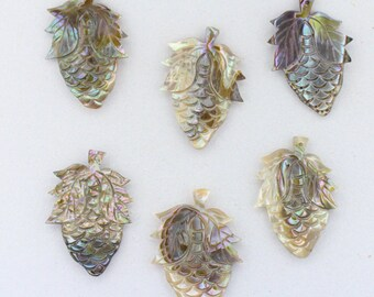 6 PCS VINTAGE Abalone Shell Pineapple Pendants 33x23mm