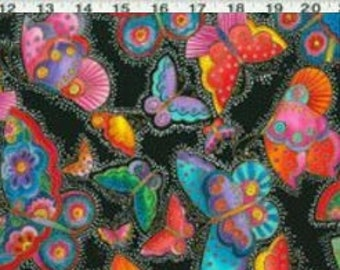 Laurel Burch Flying Colors OOP FAT QUARTER Butterflies With White Dots on Black