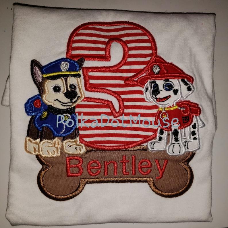 Paw Patrol Birthday Number shirt with Bone Name