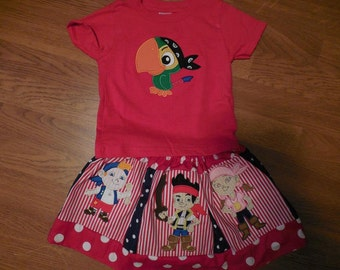 Jake and the Neverland Pirates Custom Skirt Outfit Parties Vacation Disney Embroidery Applique