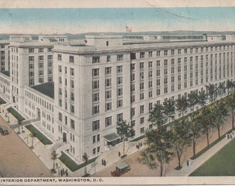 New Interior Department, Used c1930s Postcard,  Washington, DC, a little wear, discoloring