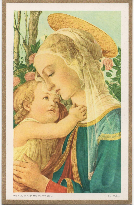 Christmas card good shape Vintage Benedict Oregon Used 1981 Benedictine Fathers Virgin and Infant St