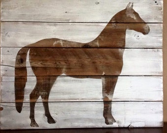 Rustic Horse Picture, Wood Horse Picture, Horse Silhouette, Farmhouse Decor, Country Decor, Rustic Decor, Wood Sign, Horse Sign