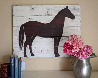 Rustic Horse Silhouette Picture, Wood Horse Picture, Horse Silhouette, Farmhouse Decor, Country Decor, Rustic Decor, Wood Sign, Horse Sign