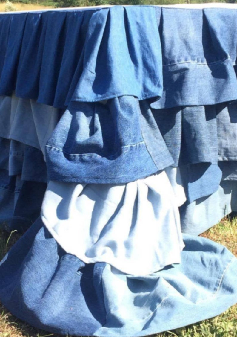 Denim Tablecloth, Ruffled Denim Tablecloth, Denim Wedding Tablecloth, Denim  Table Decor, Jean Tablecloth, Denim Party Decor, Denim Decor