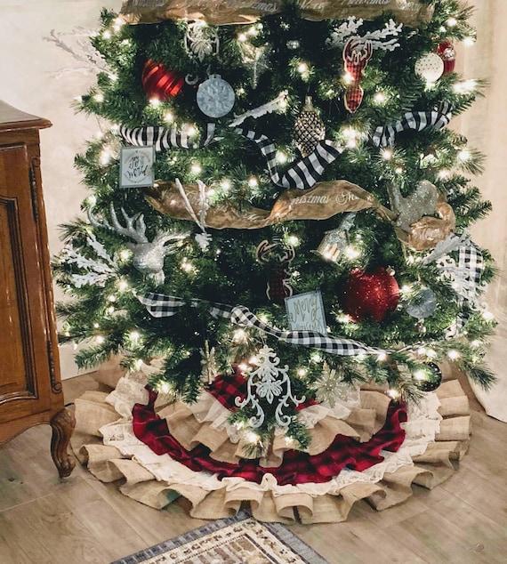 Buffalo Check Christmas Tree Ideas.Buffalo Check Tree Skirt Buffalo Check Decor Flannel Christmas Decor Buffalo Check Christmas Flannel Christmas Tree Skirt Country