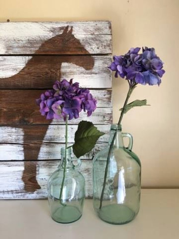 Pair Of Glass Jugs Country Home Decor Glass Vase Glass Jar Etsy