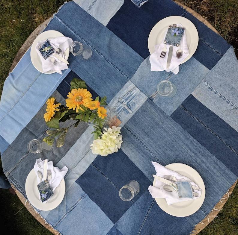 Delicieux Denim Tablecloth, Denim Tablescapes, Denim Wedding Tablecloth, Denim Table  Decor, Jean Tablecloth, Denim Party Decor, Denim Baby Shower
