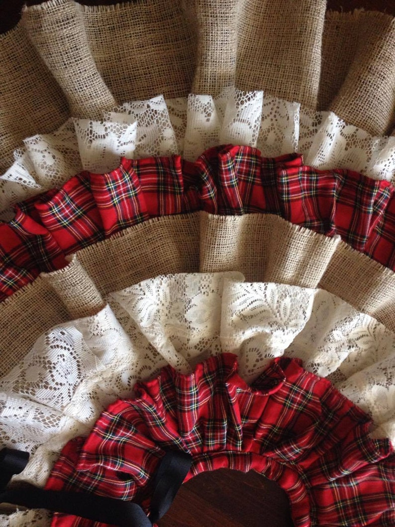 Flannel Burlap & Lace Country Christmas Tree Skirt Buffalo ...