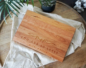 Mom You Are So Loved Mothers day personalized gift cutting board, thank you mom gift, mothers cutting board,  Charcuterie Board  - 036