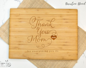 Mothers day gift cutting board, thank you mom gift, mother cutting board - 032
