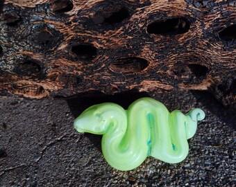 Lime Green Snake Pendant / Borosilicate Glass Jewelry / Serpent Necklace / Blown Glass / Handblown Art Glass