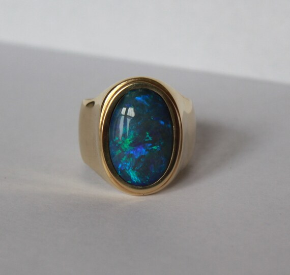 Australian Black Opal 14 K Yellow Gold Mens Ring Size 11 One