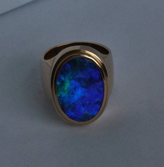 Items Similar To Opal Ring Exquisite Braided Opal: Items Similar To Black Opal In 14k Yellow Gold Mens Ring