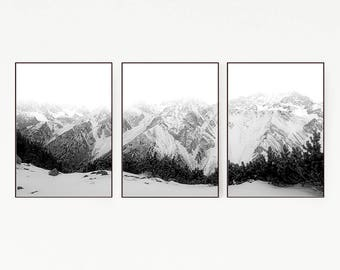 Set of 3 Prints Mountains Wall Decor Nordic Art Print Poster Scandinavian Monochrome Black White Nature Wilderness Modern Minimalist 1001