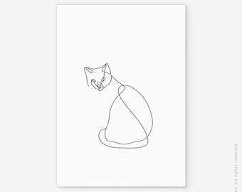 FREE SHIPPING Print Cat Drawing Art Poster Line Illustration Gift Lover Scandinavian Minimalist Black White Funny Cut Animal Modern Decor