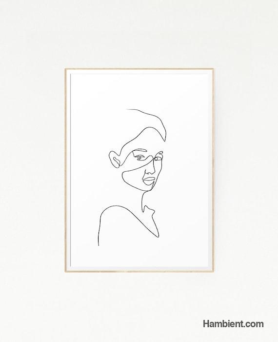 Femme Visage Tête Illustration Dessin Art Femme Corps Fille Cadeau Affiche Minimaliste Féministe Féroce Noir Blanc Lignes Dimpression