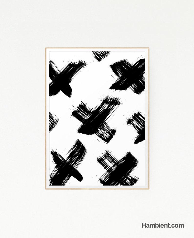Printable Crosses X Brush Stroke Drawing Illustration Print Painting Wall  Art Modern Poster Ink Minimalist Cross Black White Abstract
