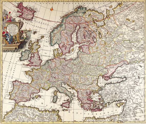 Printable Wall Art, Vintage Map , Ancient Map of Europe , Instant Download,  HQ