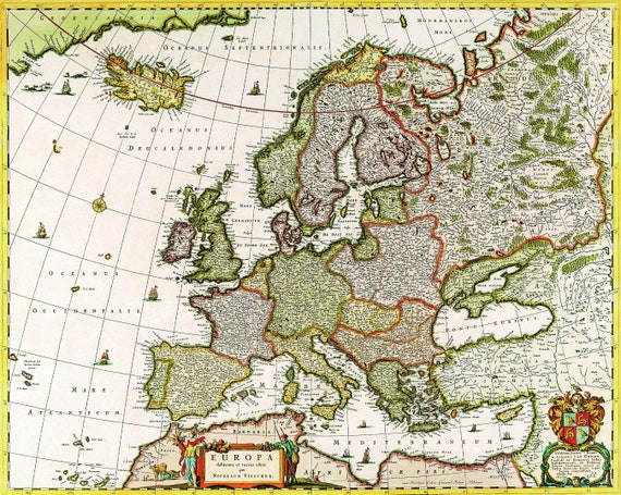Printable Wall Art, Vintage Map , Vintage Map of Europe , Instant Download,  HQ