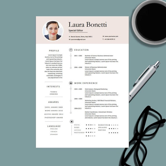 Modern Professional Resume Template For Ms Word Creative Etsy
