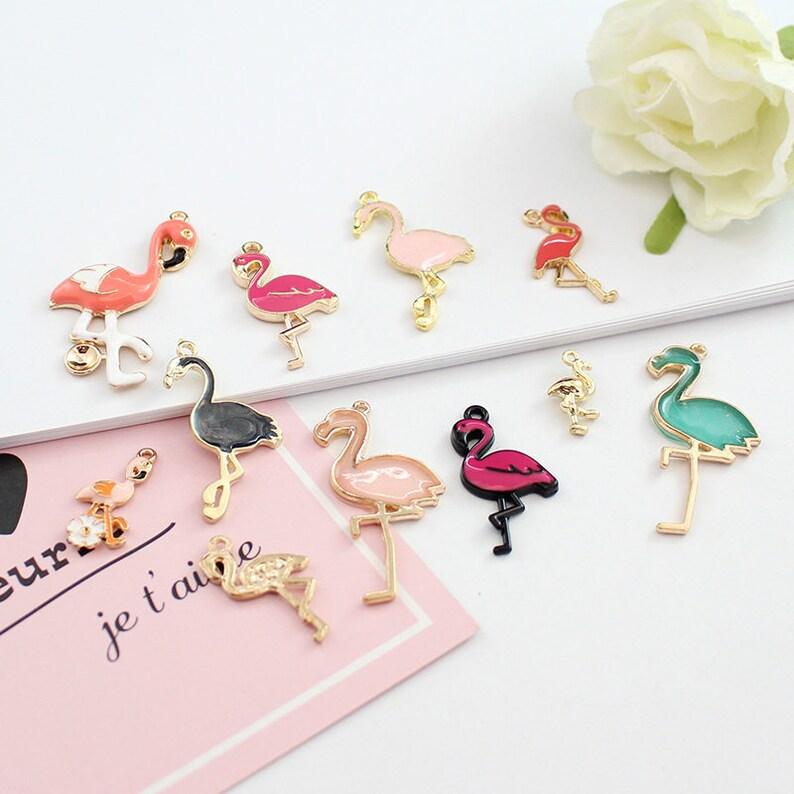 5pcs x Pink Flamingo Enamel Gold Alloy CHARM Pendants DIY Jewellery