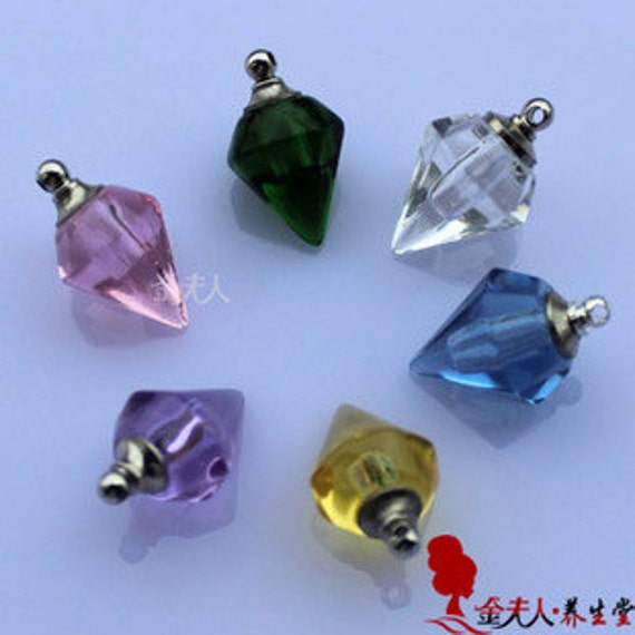 10 Handmade Faceted Crystal Necklace Pendant Vial Wishing Bottle oil Charm SCREW