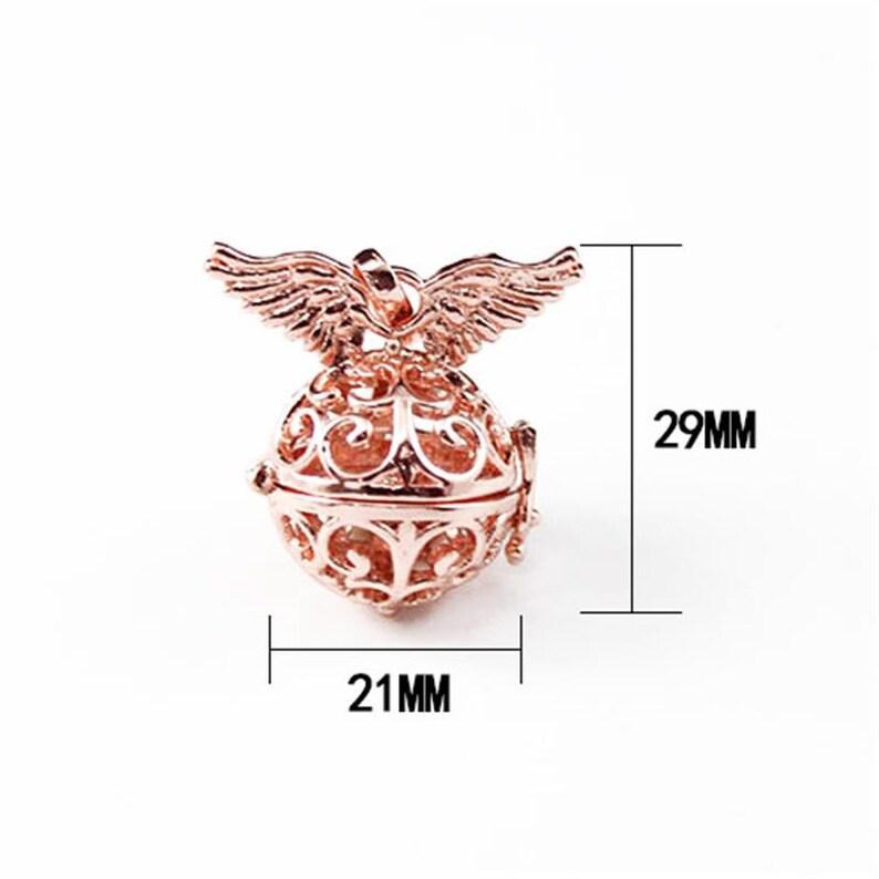 2PCS Rose Gold Wing Locket pendant,Metal Hollow Phase Box,Fillable Lockets Filigree Wish Box  Charm Alloy Essential Oil Diffuser Pendant