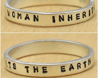 Woman Inherits The Earth Hand Stamped Sterling Silver Ring