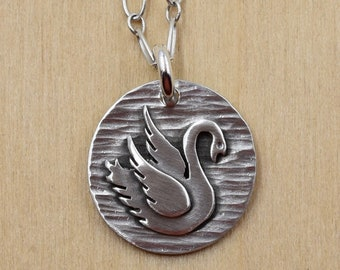 Swan Necklace - Handcut Sterling Silver