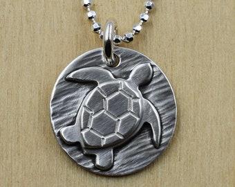 Sea Turtle Handcut Silver Necklace