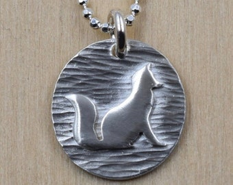 Fox Necklace - Handcut Sterling Silver