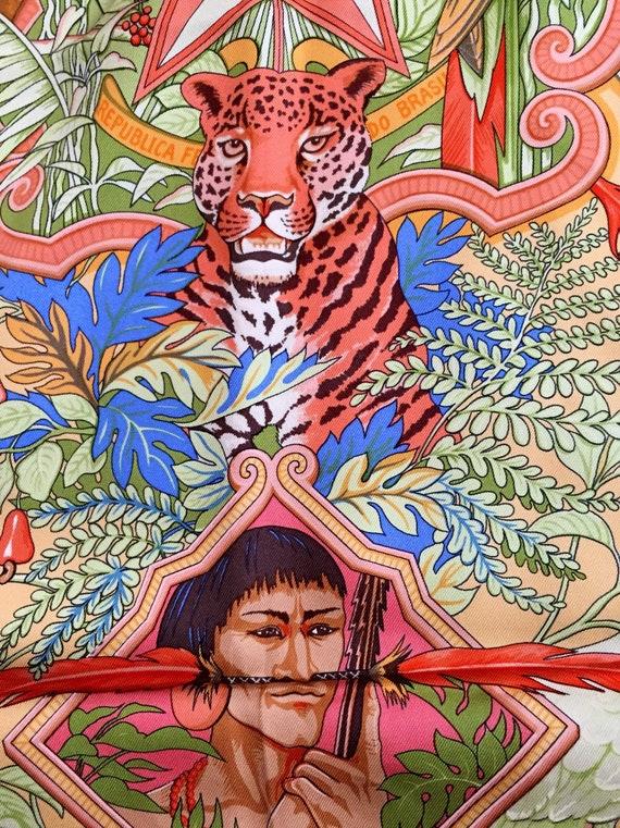 Vintage Hermes Scarf, Rare, Amazonia, Tiger, Pink