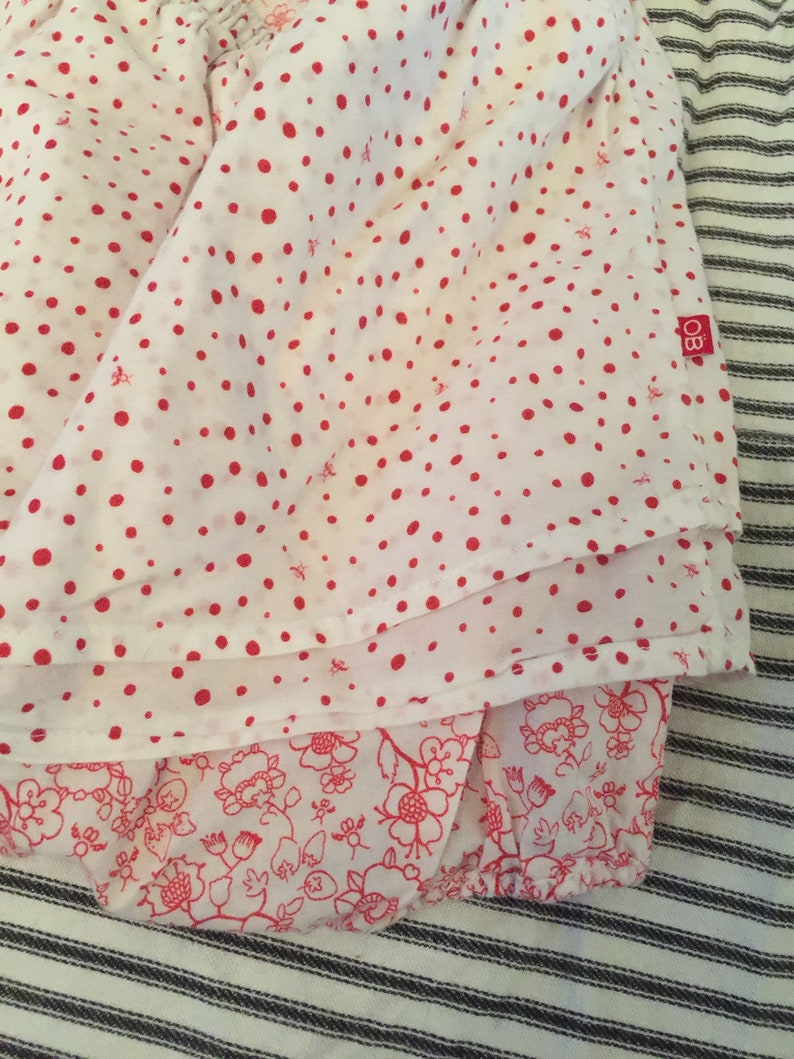Flowers Pinafore Style Dots Cotton Vintage French Baby Girl Romper France Obaibi