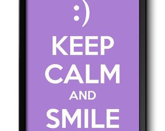 Keep Calm Poster Keep Calm and Smile White Lilac Purple Art Print Wall Decor Custom Stay Calm Smiley Face quote inspirational motivational