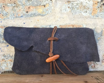 leather suede clutch with wood bead