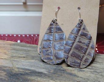 Teardrop leather earrings , distressed brown, alligator embossed