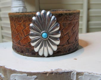 Upcycled leather belt bracelet