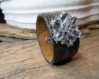 Upcycled leather belt bracelet with vintage crystal brooch