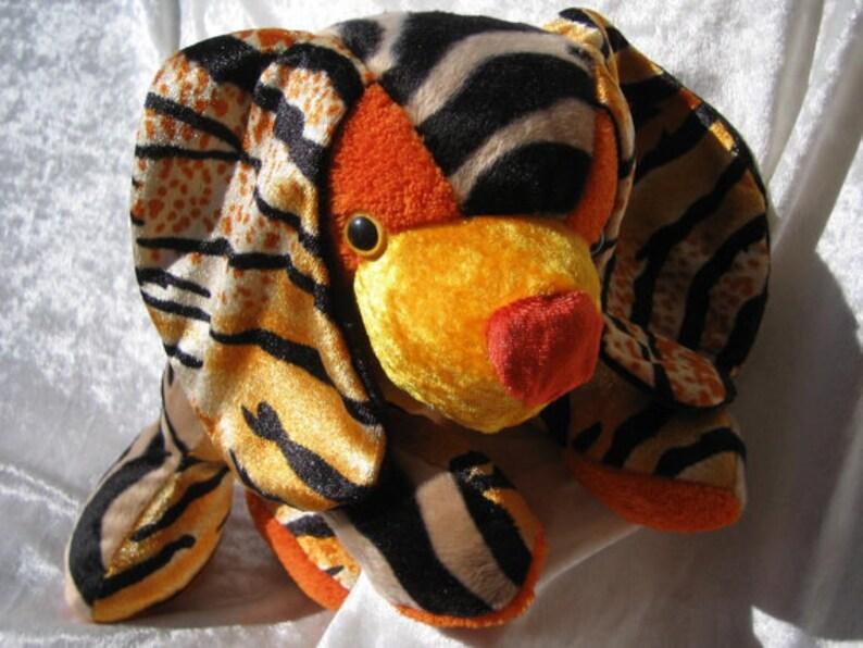 stuffed ANTELOPE puppy orange zebra spaniel FIREFLY SPANIEL plush unique firefly puppy soft toy Tiger puppy handmade antelope dog toy