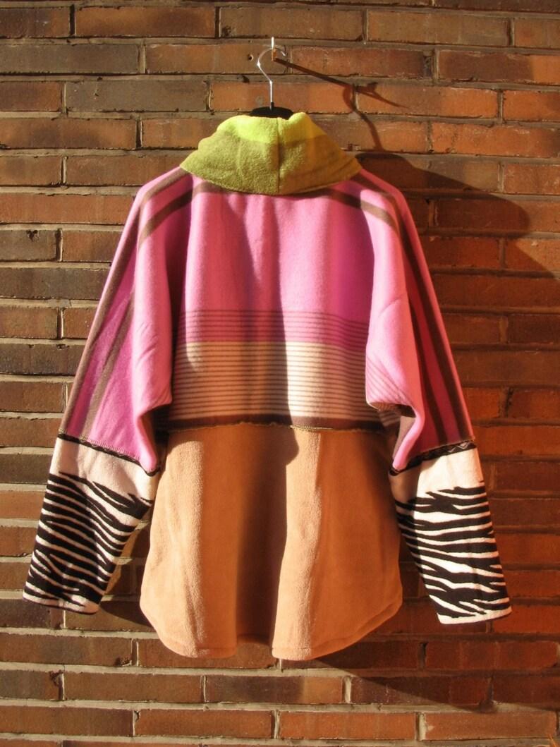 Lavender Zebra Sweater Tall Women xxl EXTRA LONG SLEEVES purple green fleece pullover oversize warm sweater tall women clothing handmade