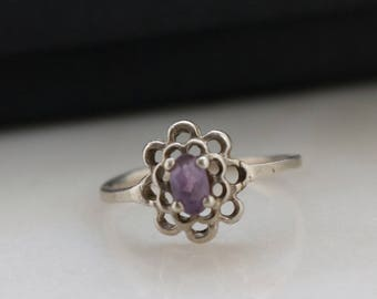 Purple Amethyst Ring - 6.5 Ring - Sterling Floral Ring